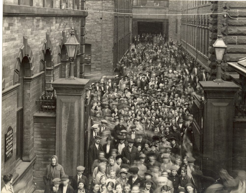 Mill Workers Exiting Salts Mill, 1930s