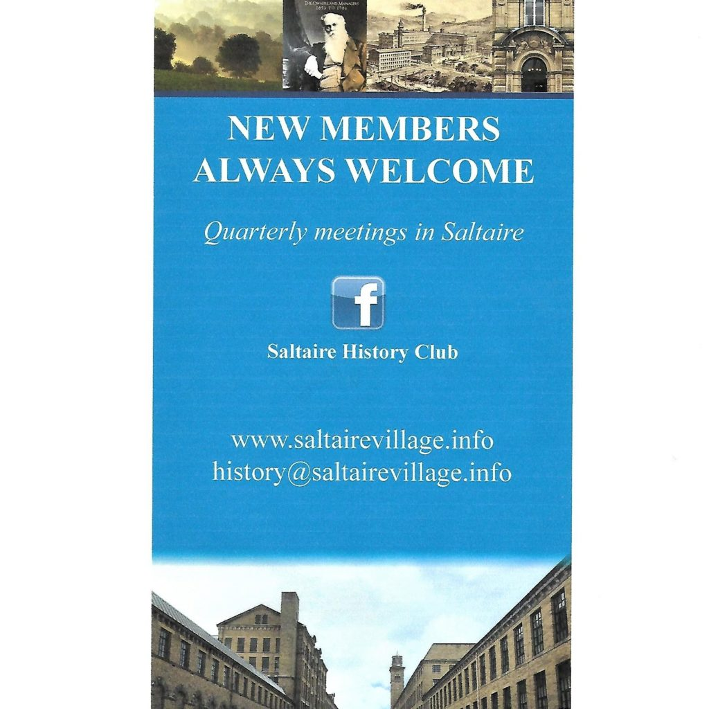 Saltaire History Club poster