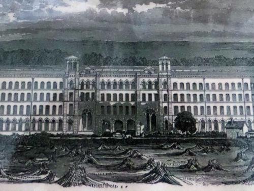 Artists impression of Salts Mill circa 1860