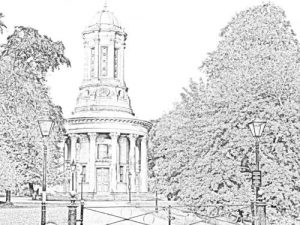 Colouring sheet of the Congregational church