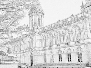 Colouring sheet of Victoria Hall in the snow