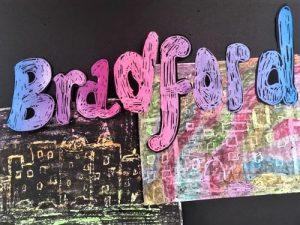 Bags of creativity: Scratch art postcard